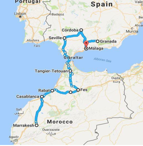 spain morocco map